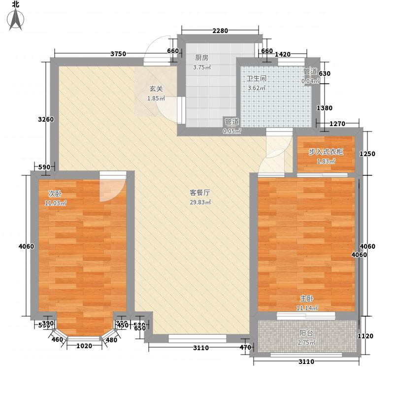 美林小镇3.32㎡D1户型2室2厅1卫1厨