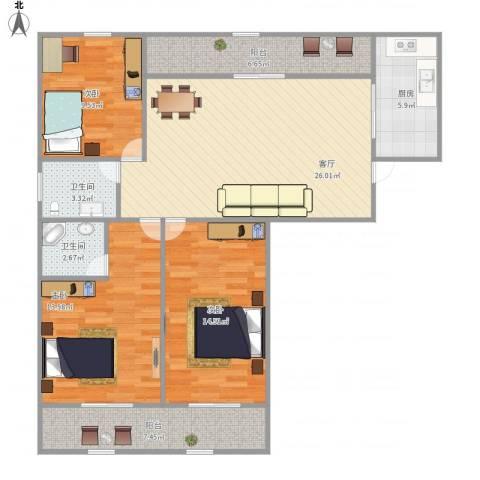 荣域花园3室1厅2卫1厨122.00㎡户型图