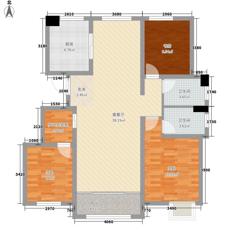 万豪风景13.00㎡A户型3室2厅2卫1厨