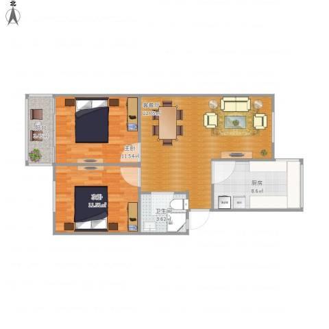 娄江新村2室1厅1卫1厨83.00㎡户型图