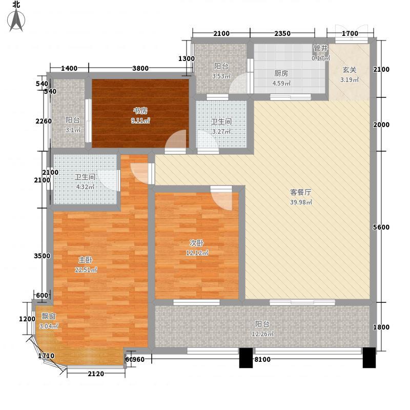 中交・锦湾138.81㎡中交28号楼T28-5户型3室2厅2卫1厨