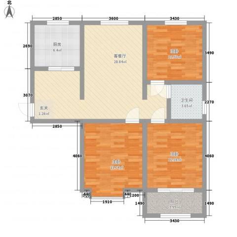 熙凤居3室1厅1卫1厨115.00㎡户型图