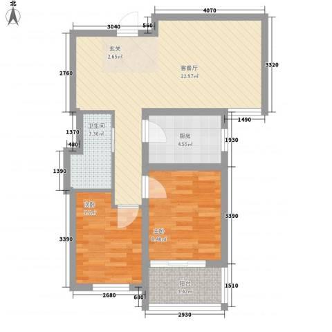 熙凤居2室1厅1卫1厨73.00㎡户型图