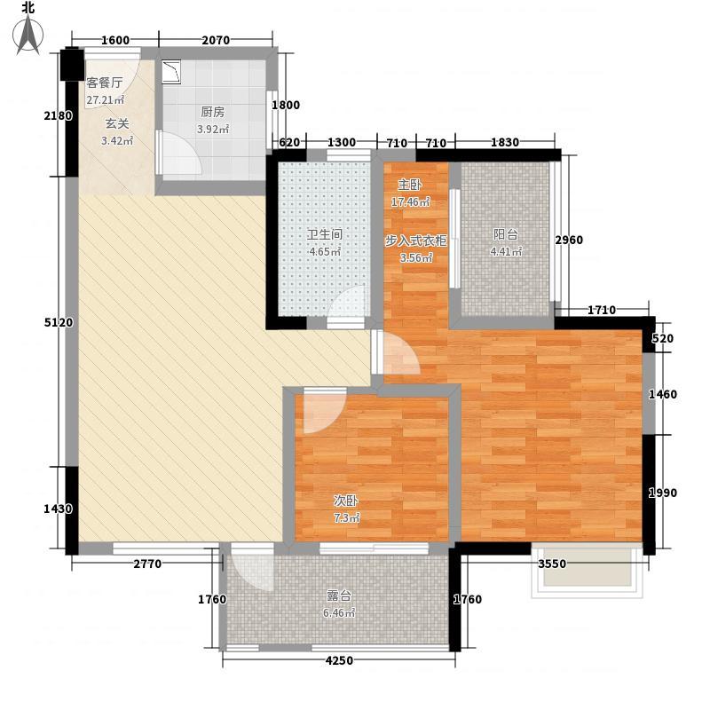 三汇人和逸景88.00㎡E2户型3室2厅1卫1厨