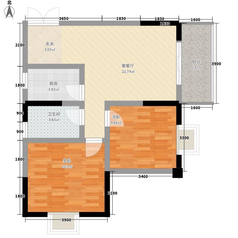 佳琪城市春天B区78.30㎡B号楼B1户型2室2厅1卫1厨