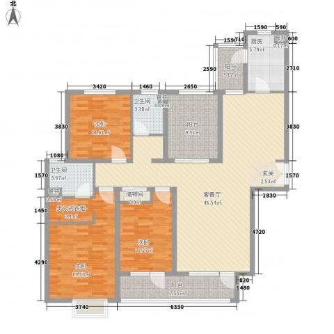 鹏欣・水游城3室1厅2卫1厨179.00㎡户型图