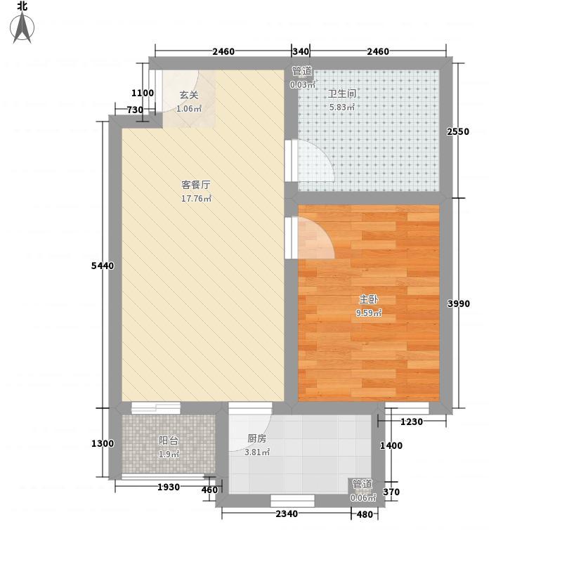 荣庆・金悦府57.30㎡D户型1室2厅1卫1厨