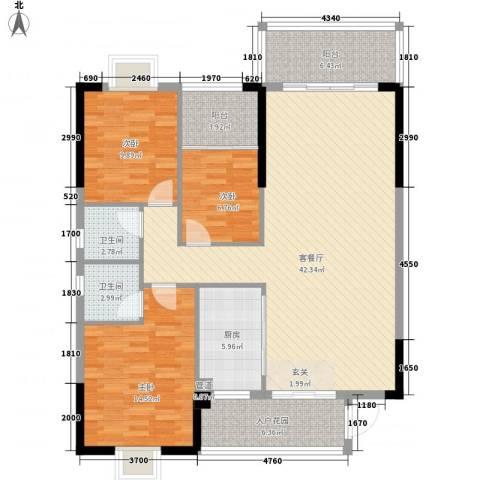 名门世家3室1厅2卫1厨102.04㎡户型图