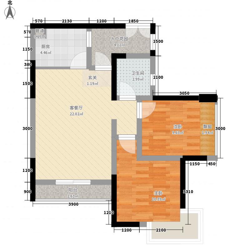 宏帆广场73.10㎡2幢5-33层5号房户型2室2厅1卫1厨
