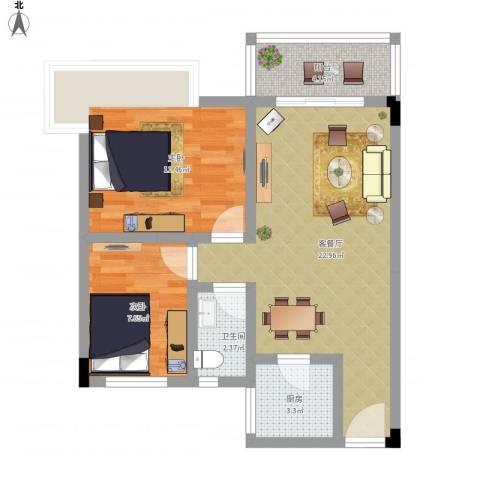 日高卡卡2室1厅1卫1厨76.00㎡户型图