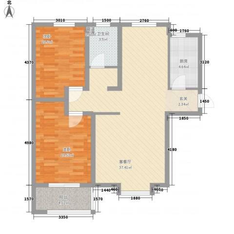 熙凤居2室1厅1卫1厨73.97㎡户型图