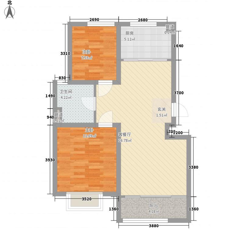 万豪风景87.00㎡L户型2室2厅1卫1厨