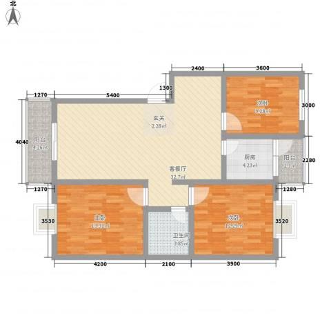 名仕御园3室1厅1卫1厨118.00㎡户型图