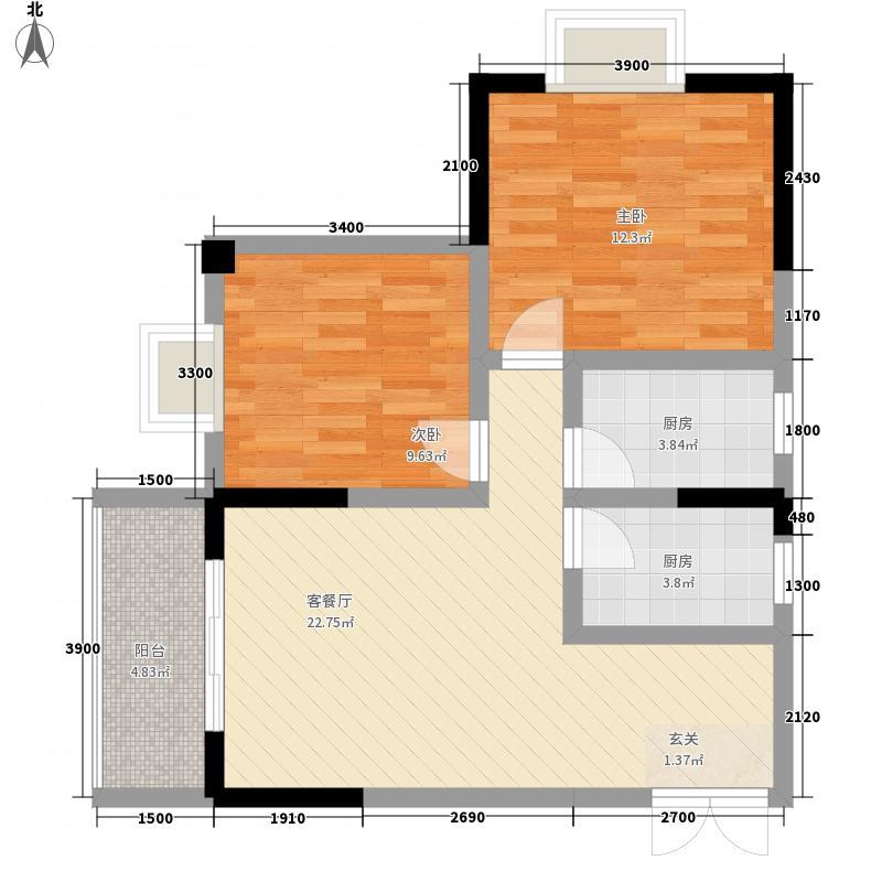 佳琪城市春天B区78.00㎡C号楼C1户型2室2厅1卫1厨