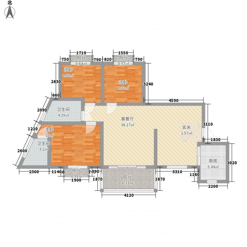 御峰园116.80㎡10栋06户型3室2厅2卫1厨