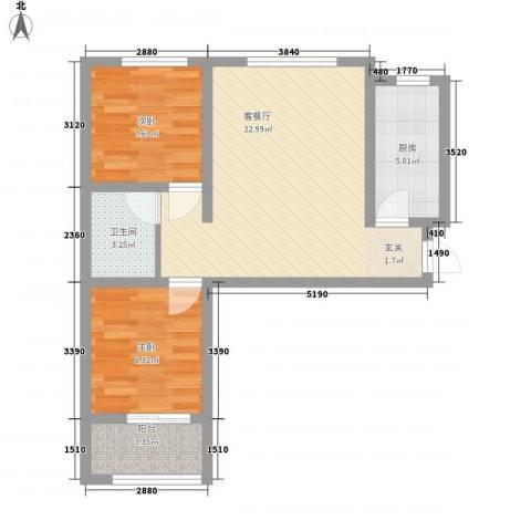 熙凤居2室1厅1卫1厨74.00㎡户型图