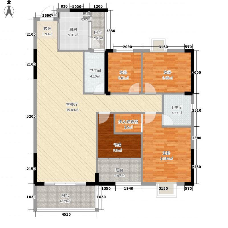 名门世家14.40㎡6层C1户型4室2厅2卫1厨
