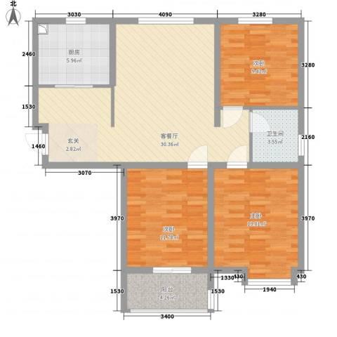 熙凤居3室1厅1卫1厨112.00㎡户型图