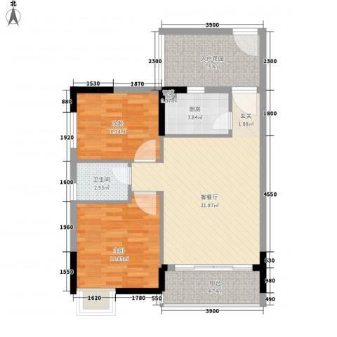 东岸公馆2室1厅1卫1厨76.00㎡户型图