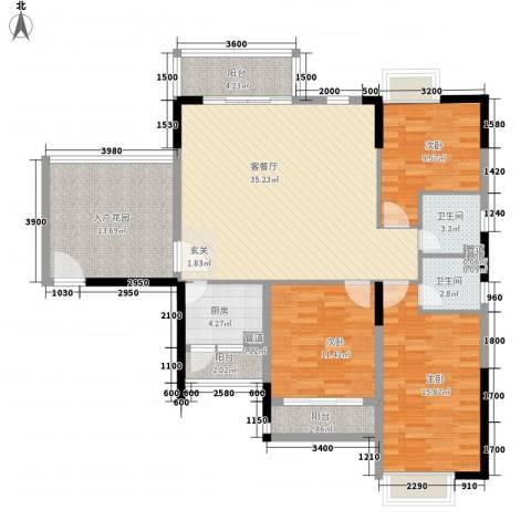东岸公馆3室1厅2卫1厨124.00㎡户型图