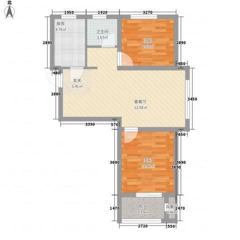 熙凤居2室1厅1卫1厨75.00㎡户型图