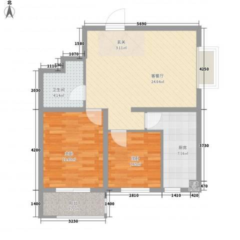盛华苑二期2室1厅1卫1厨84.00㎡户型图