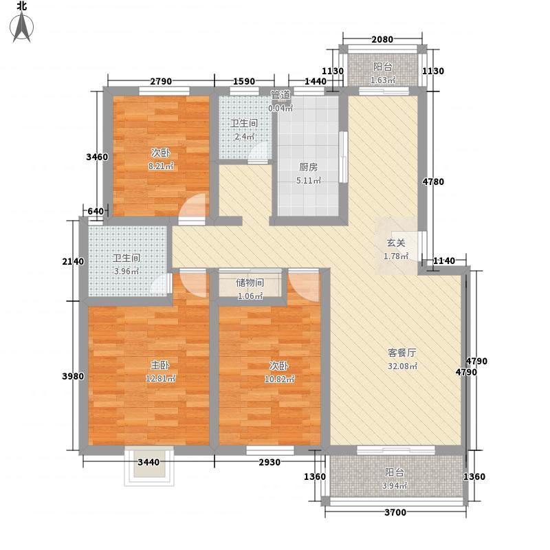 怡缘121.00㎡小区户型3室