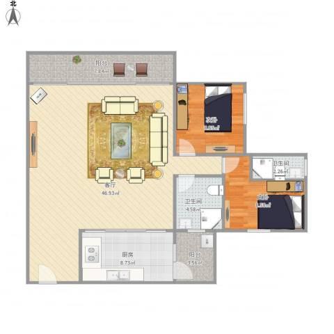 尚庭雅居2室1厅2卫1厨122.00㎡户型图