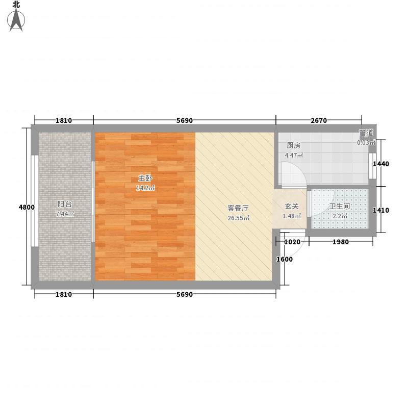 金和大厦56.82㎡B户型1室1厅1卫1厨