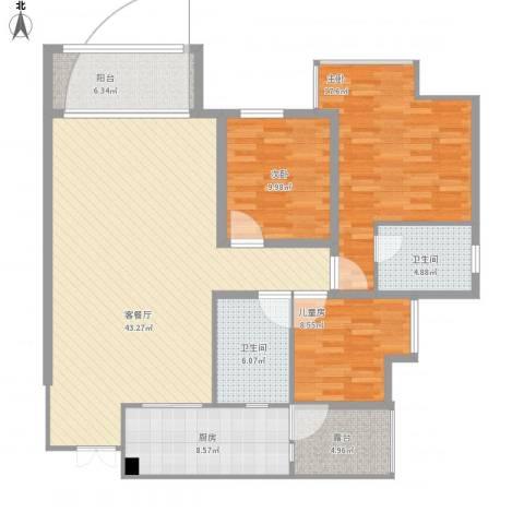五星华府3室1厅2卫1厨154.00㎡户型图