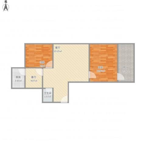 医药局宿舍2室2厅1卫1厨81.00㎡户型图
