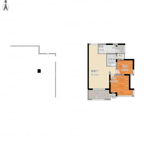 海门东恒盛国际公馆2室1厅1卫1厨108.00㎡户型图