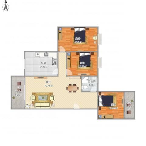 美景居3室1厅1卫1厨156.00㎡户型图
