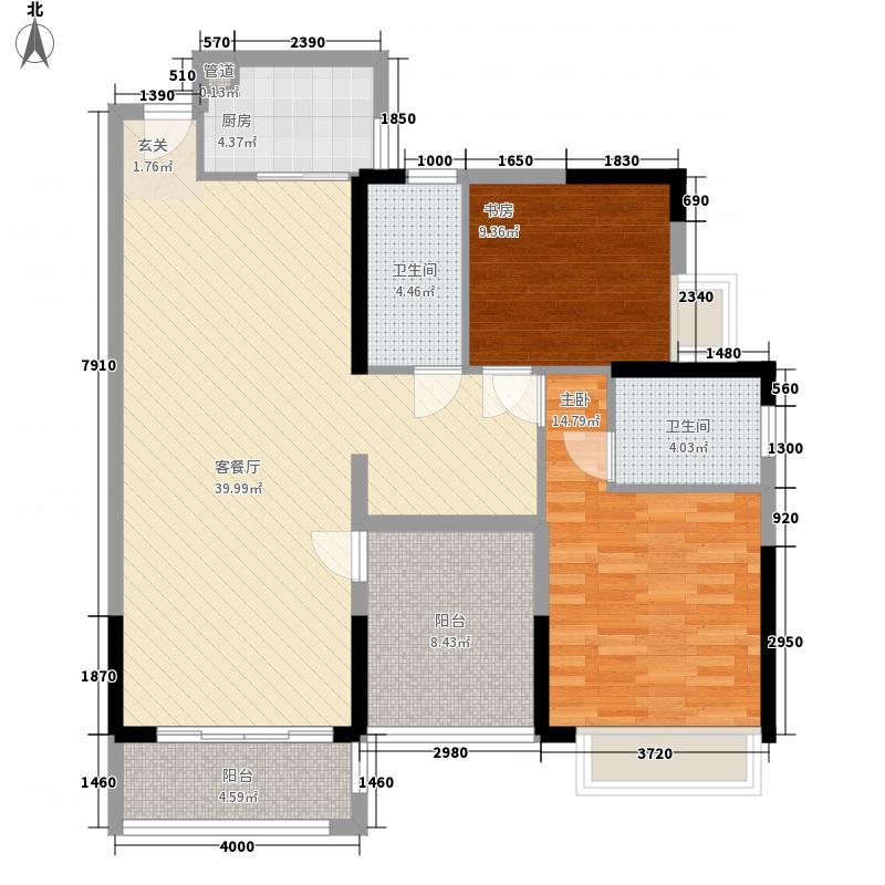 紫檀山8栋A1户型2室2厅2卫1厨