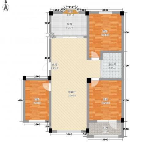 辽阳泛美华庭3室1厅1卫1厨113.00㎡户型图