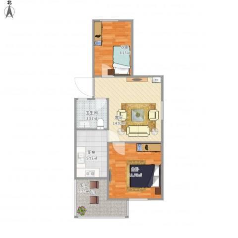 燕山小区2室1厅1卫1厨68.00㎡户型图