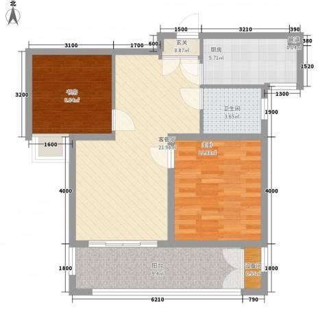 冠亨名城2室1厅1卫1厨91.00㎡户型图