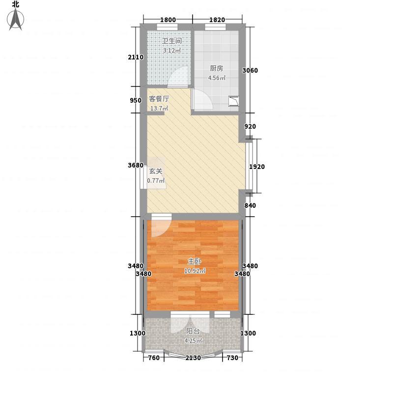御桥馨华苑53.06㎡上海户型1室1厅1卫1厨