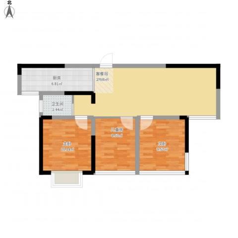 同人・怡和园3室1厅1卫1厨90.00㎡户型图