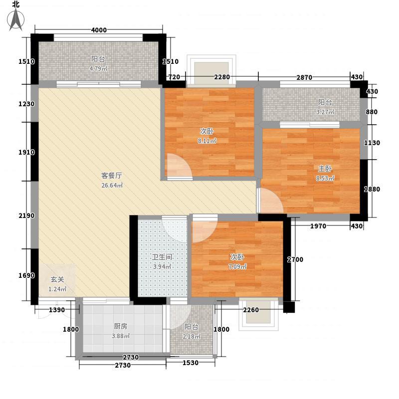 兴发龙溪谷8.60㎡13栋B3-2户型3室2厅1卫1厨