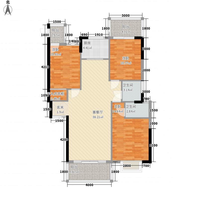 正鼎澜天1222.20㎡1#2#2-29A2户型3室2厅2卫1厨