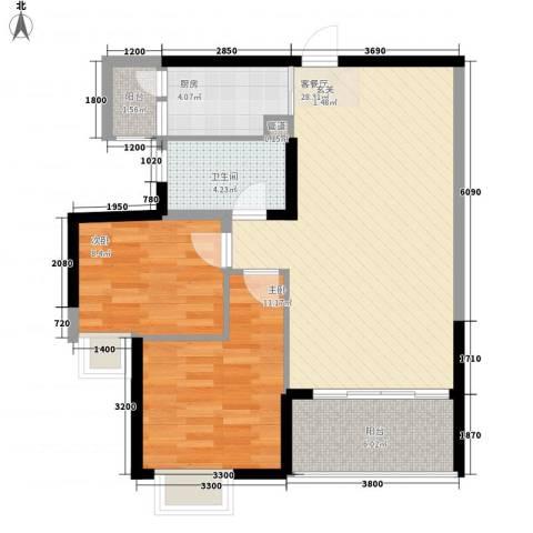 金水湾2室1厅1卫1厨72.79㎡户型图