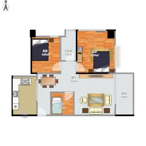 龙华花半里3室1厅1卫1厨86.00㎡户型图