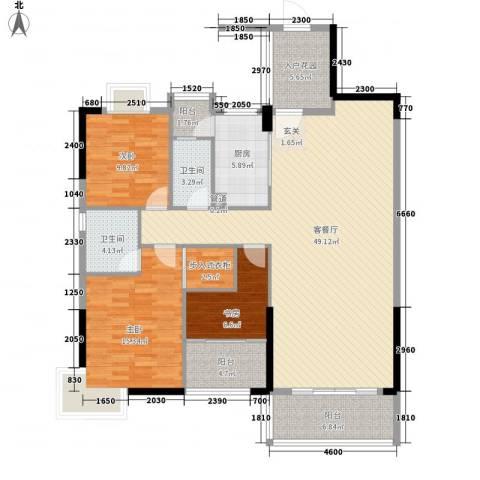 名门世家3室1厅2卫1厨133.00㎡户型图
