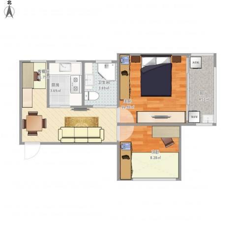 开鲁三村2室1厅1卫1厨75.00㎡户型图