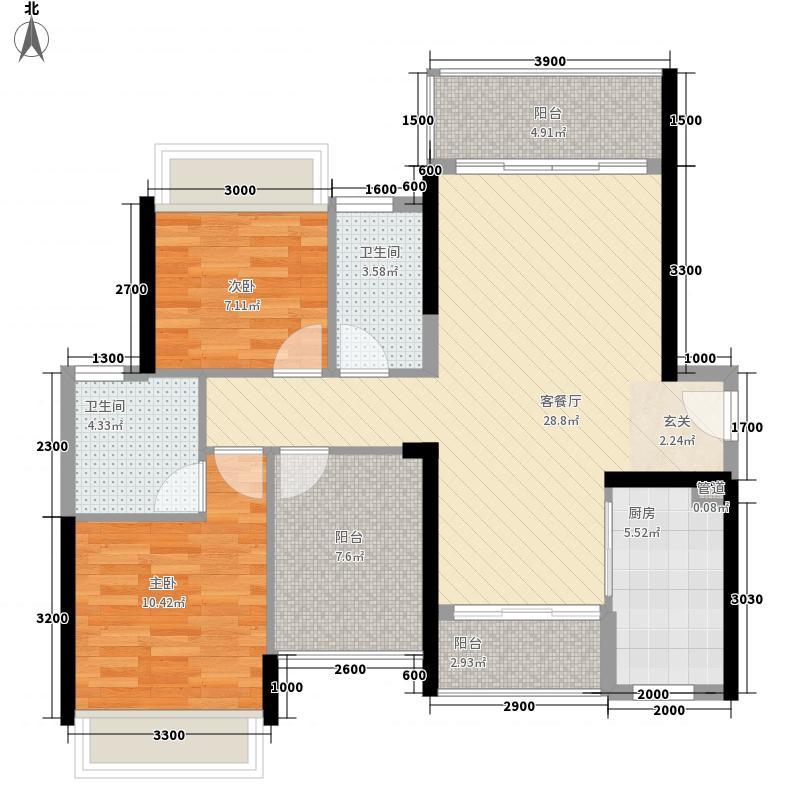 君汇名城88.20㎡23幢标准层03户型3室2厅2卫1厨