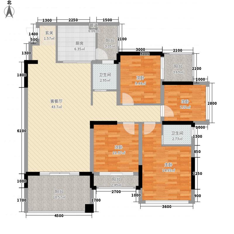 富林双泉雅苑1135.20㎡D1户型4室2厅2卫1厨
