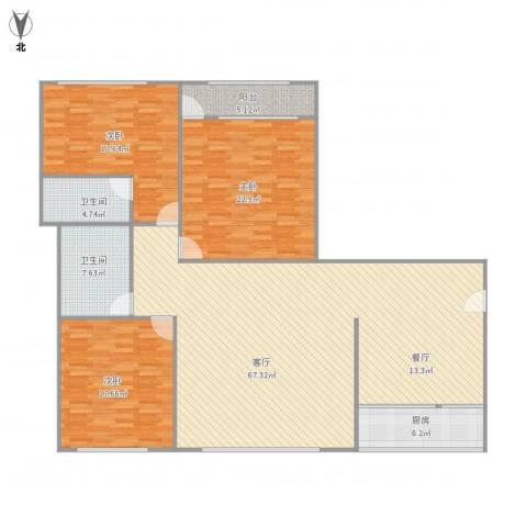 七里河小区3室1厅2卫1厨198.00㎡户型图