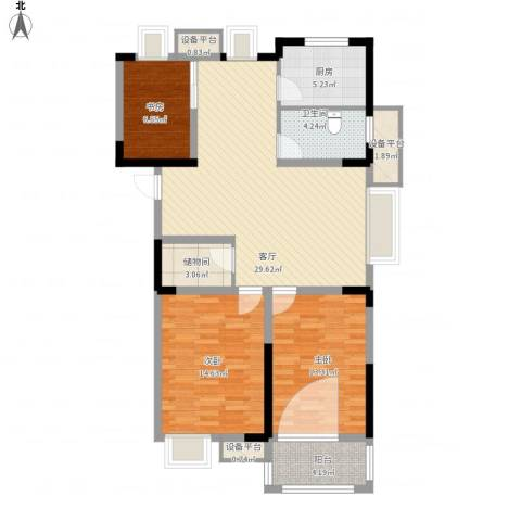 金都华府3室1厅1卫1厨122.00㎡户型图