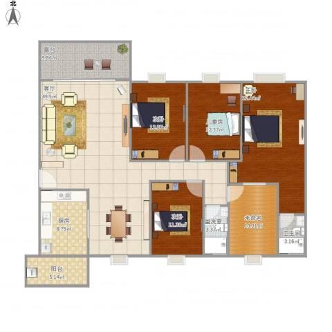 清华园4室2厅1卫1厨200.00㎡户型图